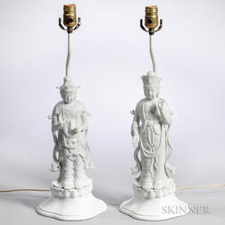 Two Blanc de Chine Figural Lamps