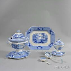 """Six J. Clementson Blue """"Siam"""" Transfer-decorated Ironstone Items"""