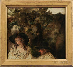 George Morland (British, 1763-1804)      Fragmentary Oil Sketch of a Man and Woman in a Landscape