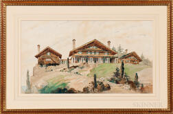 Harvey H. Hiestand (American, 1872-1944)      Adirondack Lodge, Designed by Frank M. Andrews, Architect
