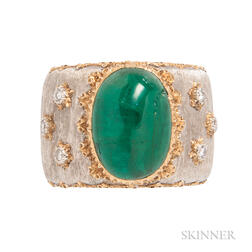 18kt Gold, Emerald, and Diamond Ring, Buccellati