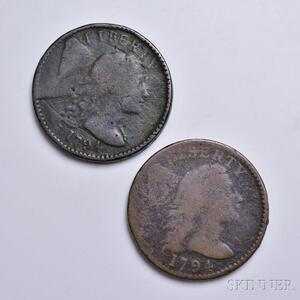 Two 1794 Liberty Cap Large Cents