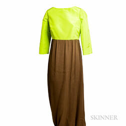 Neon Green and Brown Silk Gown