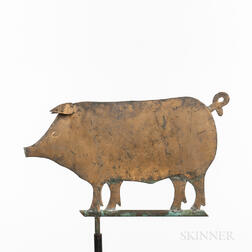 Small Gilded Sheet Copper Pig Weathervane