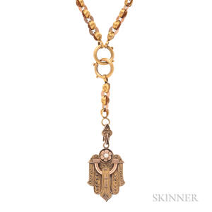 Victorian Bicolor Gold Locket and Chain