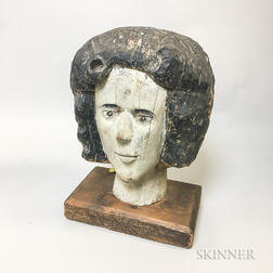 Carved and Painted Wood Woman's Head