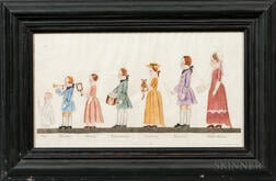 Watercolor on Laid Paper Depicting 18th Century Children