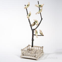 Carved and Painted Christmas Bird Tree