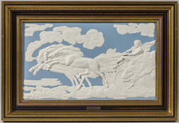 Modern Wedgwood Light Blue and White Jasper Fall of Phaeton   Plaque