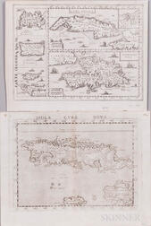 Cuba and Hispianola. Two Engraved Maps, 16th and 17th Century.