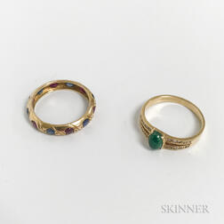 14kt Gold, Emerald, and Diamond Ring and a Low-karat Gold, Ruby, and Sapphire Band