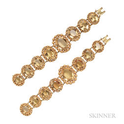 Pair of Antique Gold and Citrine Bracelets