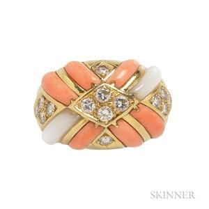 18kt Gold, Coral, and Mother-of-pearl Ring
