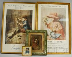 Lot of Four Framed Items: Two Original Works by Conger A. Metcalf (American, 1914-1998) and Two Exhibition Posters Signed by the Artist