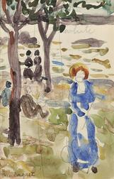 Maurice Brazil Prendergast (American, 1858-1924)      Double-sided Sketchbook Page: Figures Beneath Trees at the Shore