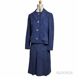 Bill Blass Blue and White Striped Suit