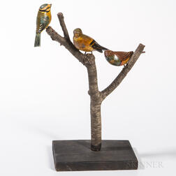 "Three Carved and Painted Birds Mounted on a Branch ""Tree,"""