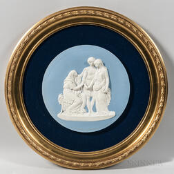 Wedgwood Solid Light Blue Jasper Plaque of Coriolanus with His Wife and Mother