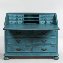 Blue-painted William and Mary Slant-lid Desk