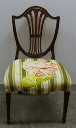 Federal-style Needlepoint Upholstered Carved Mahogany Shield-back Side Chair.