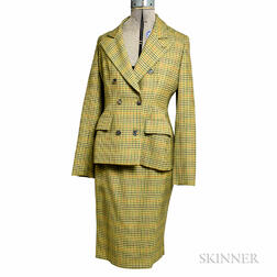 Bill Blass Green, Tan, and Orange Checked Suit