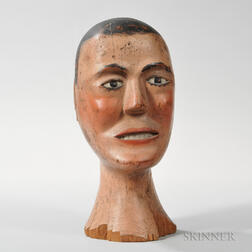 Carved and Painted Man's Head
