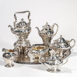 Six-piece Gorham Sterling Silver Tea and Coffee Service with Associated Silver-plate Tray