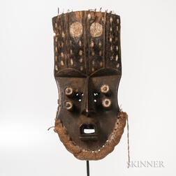 Grebo-style Carved and Painted Wood Mask