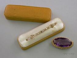 14kt Gold, Diamond, and Seed Pearl Bar Pin and a 14kt Gold and Amethyst Pendant/Brooch.