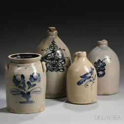 Three Cobalt-decorated Stoneware Jugs and a Jar