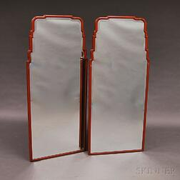 Pair of Queen Anne-style Red-painted Beveled-glass Pier Mirrors