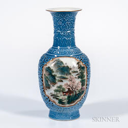 Reticulated Famille Rose Sky Blue Vase