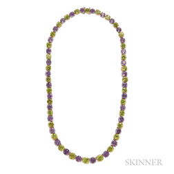 Platinum, 18kt Gold,  Amethyst, and Peridot Necklace, Oscar Heyman