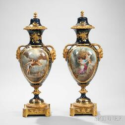 Pair of Large Gilt-bronze-mounted Sevres Porcelain Vases and Covers