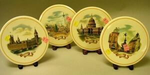 Set of Four Wedgwood London Scenes Transfer Decorated Porcelain Plaques.