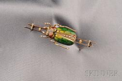 Art Nouveau Enamel and Seed Pearl Beetle Brooch