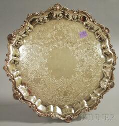 Round Silver Plated Footed Tray