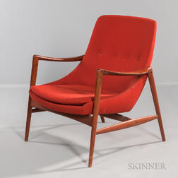 Westnofa Teak and Orange Upholstered Lounge Chair