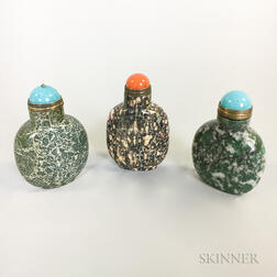 Three Carved Stone Snuff Bottles