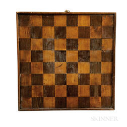 Small Inlaid Maple and Rosewood Veneer Checkerboard
