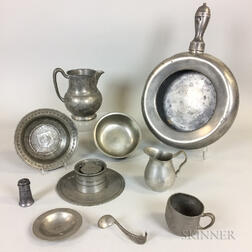 Ten Pewter Tableware Items