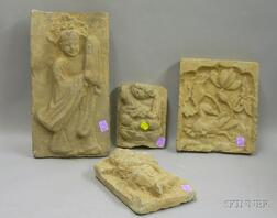 Four Chinese Architectural Figural Ceramic Panels