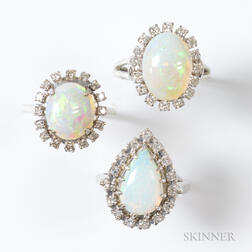 Three 14kt White Gold, Opal, and Diamond Rings