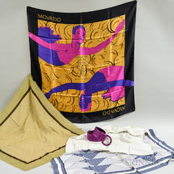 Four Silk Scarves and a Purple Suede Oscar de la Renta Belt