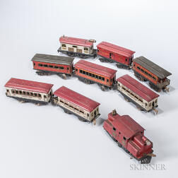 Nine Ives Railway Lines Tin Locomotives and Cars