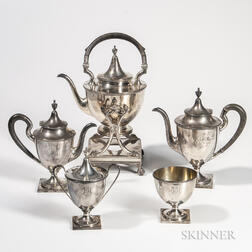 Five-piece Shreve, Crump & Low Sterling Silver Tea and Coffee Service