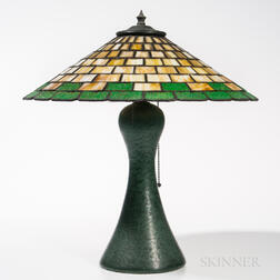 J.H. Strobl Pottery Lamp with Slag Glass Shade