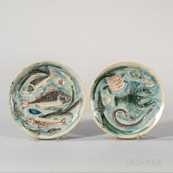 Pair of Palissy-type Earthenware Seafood Plates
