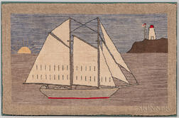Grenfell-style Sailing Vessel and Lighthouse Hooked Mat