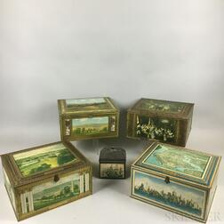 Five Mostly Lithographed Tin Boxes